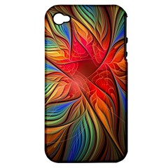 Vintage Colors Flower Petals Spiral Abstract Apple Iphone 4/4s Hardshell Case (pc+silicone) by BangZart