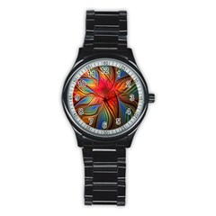 Vintage Colors Flower Petals Spiral Abstract Stainless Steel Round Watch by BangZart
