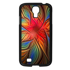 Vintage Colors Flower Petals Spiral Abstract Samsung Galaxy S4 I9500/ I9505 Case (black) by BangZart