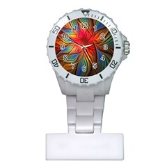 Vintage Colors Flower Petals Spiral Abstract Plastic Nurses Watch by BangZart