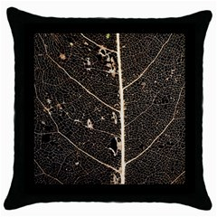 Vein Skeleton Of Leaf Throw Pillow Case (black) by BangZart