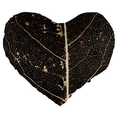Vein Skeleton Of Leaf Large 19  Premium Heart Shape Cushions by BangZart