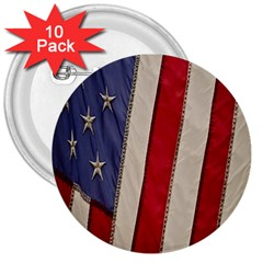 Usa Flag 3  Buttons (10 Pack)