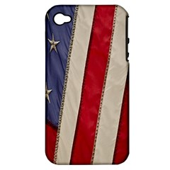 Usa Flag Apple Iphone 4/4s Hardshell Case (pc+silicone) by BangZart