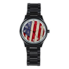 Usa Flag Stainless Steel Round Watch by BangZart