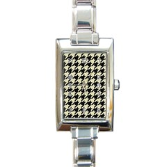 Houndstooth2 Black Marble & Beige Linen Rectangle Italian Charm Watch by trendistuff