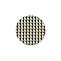Houndstooth2 Black Marble & Beige Linen Golf Ball Marker (4 Pack) by trendistuff