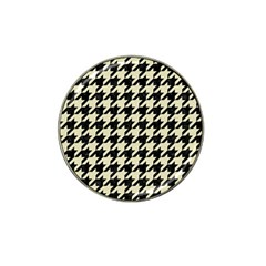 Houndstooth2 Black Marble & Beige Linen Hat Clip Ball Marker (4 Pack) by trendistuff