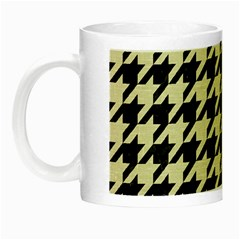 Houndstooth2 Black Marble & Beige Linen Night Luminous Mugs by trendistuff