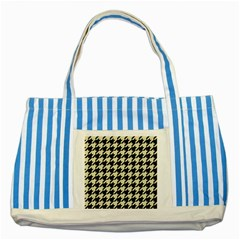 Houndstooth2 Black Marble & Beige Linen Striped Blue Tote Bag by trendistuff