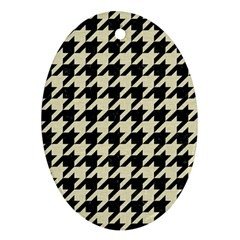 Houndstooth2 Black Marble & Beige Linen Oval Ornament (two Sides) by trendistuff