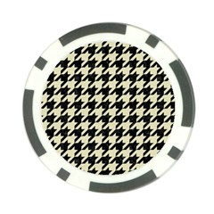 Houndstooth2 Black Marble & Beige Linen Poker Chip Card Guard by trendistuff