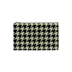 Houndstooth2 Black Marble & Beige Linen Cosmetic Bag (small)  by trendistuff