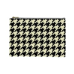 Houndstooth2 Black Marble & Beige Linen Cosmetic Bag (large)  by trendistuff