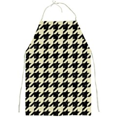 Houndstooth2 Black Marble & Beige Linen Full Print Aprons by trendistuff