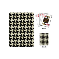 Houndstooth2 Black Marble & Beige Linen Playing Cards (mini)  by trendistuff