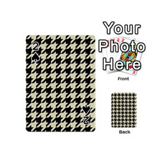 Houndstooth2 Black Marble & Beige Linen Playing Cards 54 (mini)  by trendistuff