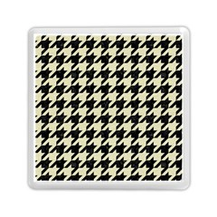Houndstooth2 Black Marble & Beige Linen Memory Card Reader (square)  by trendistuff