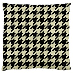 Houndstooth2 Black Marble & Beige Linen Large Cushion Case (two Sides) by trendistuff