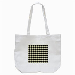 Houndstooth2 Black Marble & Beige Linen Tote Bag (white) by trendistuff
