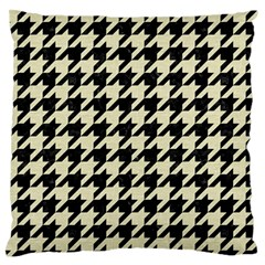 Houndstooth2 Black Marble & Beige Linen Large Flano Cushion Case (two Sides) by trendistuff