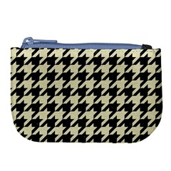 Houndstooth2 Black Marble & Beige Linen Large Coin Purse by trendistuff