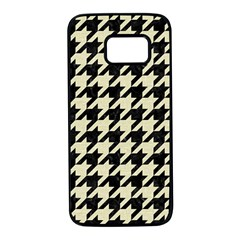 Houndstooth2 Black Marble & Beige Linen Samsung Galaxy S7 Black Seamless Case by trendistuff