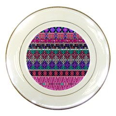 Tribal Seamless Aztec Pattern Porcelain Plates by BangZart