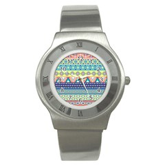 Tribal Print Stainless Steel Watch by BangZart