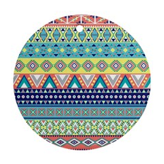 Tribal Print Round Ornament (two Sides) by BangZart