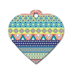 Tribal Print Dog Tag Heart (two Sides) by BangZart