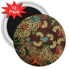 Traditional Batik Art Pattern 3  Magnets (10 Pack)