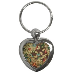 Traditional Batik Art Pattern Key Chains (heart)  by BangZart