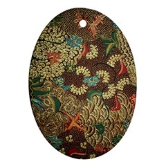 Traditional Batik Art Pattern Oval Ornament (two Sides) by BangZart