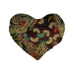 Traditional Batik Art Pattern Standard 16  Premium Heart Shape Cushions by BangZart