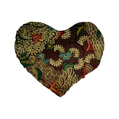Traditional Batik Art Pattern Standard 16  Premium Flano Heart Shape Cushions by BangZart