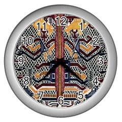 Traditional Batik Indonesia Pattern Wall Clocks (silver)  by BangZart