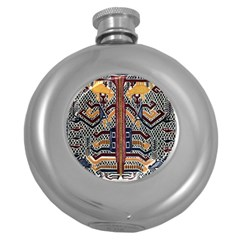 Traditional Batik Indonesia Pattern Round Hip Flask (5 Oz)