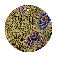 Traditional Art Batik Pattern Round Ornament (two Sides) by BangZart