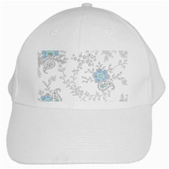 Traditional Art Batik Flower Pattern White Cap by BangZart