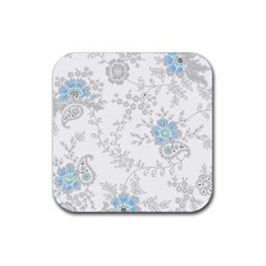 Traditional Art Batik Flower Pattern Rubber Square Coaster (4 Pack)  by BangZart