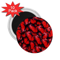 The Red Butterflies Sticking Together In The Nature 2 25  Magnets (10 Pack)  by BangZart