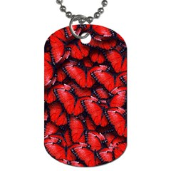 The Red Butterflies Sticking Together In The Nature Dog Tag (two Sides)