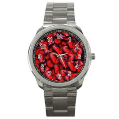 The Red Butterflies Sticking Together In The Nature Sport Metal Watch