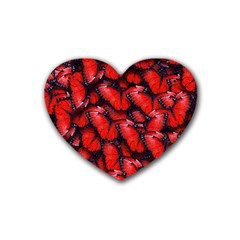 The Red Butterflies Sticking Together In The Nature Heart Coaster (4 Pack)