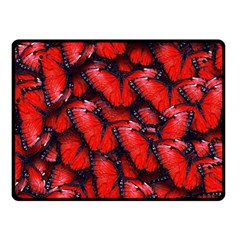 The Red Butterflies Sticking Together In The Nature Fleece Blanket (small)
