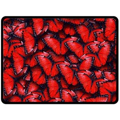 The Red Butterflies Sticking Together In The Nature Double Sided Fleece Blanket (large)
