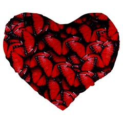 The Red Butterflies Sticking Together In The Nature Large 19  Premium Flano Heart Shape Cushions