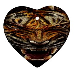 Tiger Face Ornament (heart) by BangZart