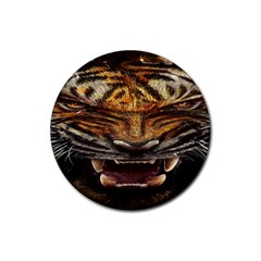 Tiger Face Rubber Coaster (round)  by BangZart